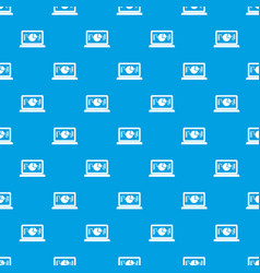 laptop with business graph pattern seamless blue vector image