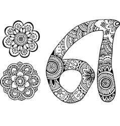 letter A decorated in the style of mehndi vector image