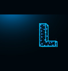 letter l low poly design alphabet abstract vector image