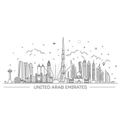 linear banner united arab emirates vector image