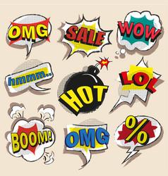 pop art comic speech bubble set vector image