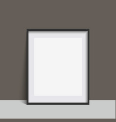 Realistic black square photo frame vector