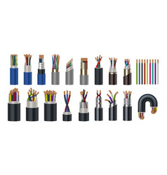realistic wires flexible electric cables with vector image