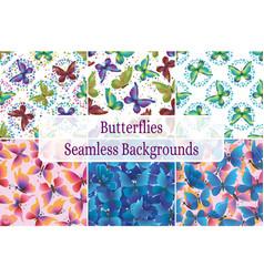 seamless backgrounds butterflies vector image