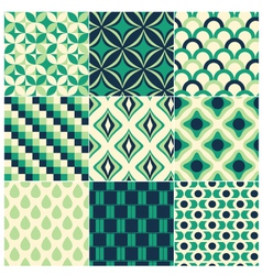 seamless green retro pattern vector image