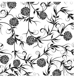seamless monochrome floral background on vector image
