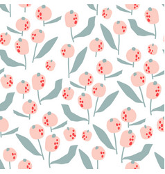 Seamless pattern with flowers in simple style vector