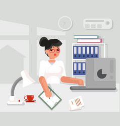 Secretary character working office desk flat vector