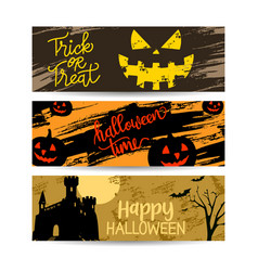 set banners halloween sale with decoration vector image