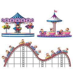 Set monkeys riding on circus rides on white vector