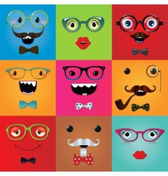 Set of funny hipster monster eyes vector
