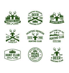 Set of outdoor camping badges with deer head vector