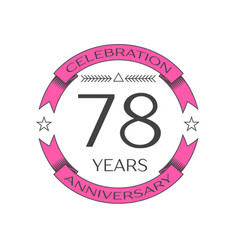 seventy eight years anniversary celebration logo vector image