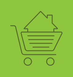 shopping trolley with house inside color linear vector image