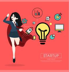 Superhero business woman cartoon for start up vector