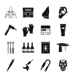 Tattoo parlor icons set simple style vector