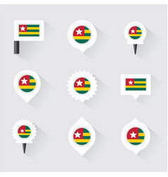 Togo flag and pins for infographic and map design vector