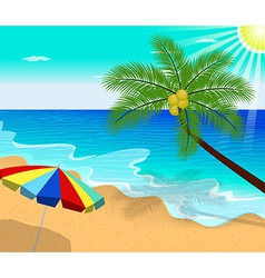 Tropical beach with Palm Trees and umbrella vector image