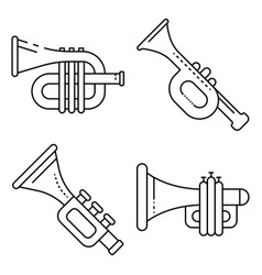 Trumpet icons set outline style vector