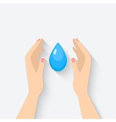 water drop in hands symbol vector image