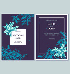 Wedding invitation card with blue edelweiss vector
