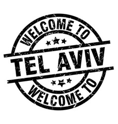 welcome to tel aviv black stamp vector image