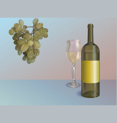 white wine wine bottle with vector image