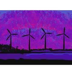 Wind turbine sunset background ecosystem for vector