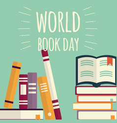World book day stacks books on mint background vector