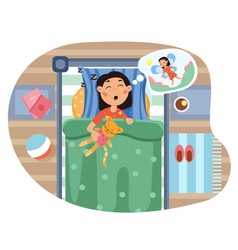 Young girl lying in bed dreaming vector