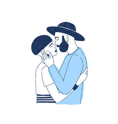 Young stylish hipster boy and girl kissing lovers vector