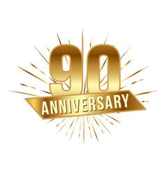 anniversary golden ninety years number vector image