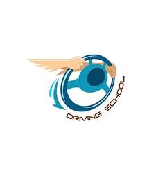 Driving school logo vector image vector image