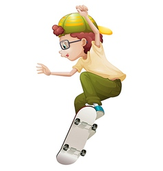 A young man playing with the skateboard vector image vector image