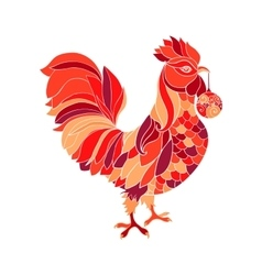 Rooster colorful red fill silhouette Cock animal vector image vector image