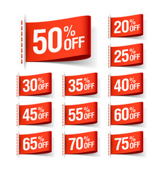 white discount sale labels vector image vector image