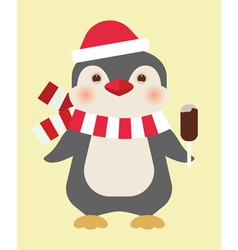 Christmas penguin with ice cream vector image