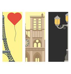 paris icons famous love travel cuisine vector image vector image