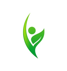 people vegetarian green leaf eco logo vector image vector image