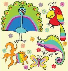 Rainbow animals vector image