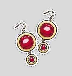red diamond brilliant earrings beautiful accessory vector image