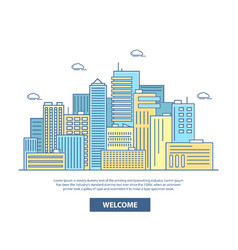 city skyline in flat linear vector image vector image