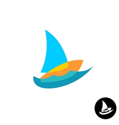 Sail boat yacht club colorful logo Overlay style vector image vector image