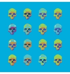 set of stylized skull on a blue background vector image
