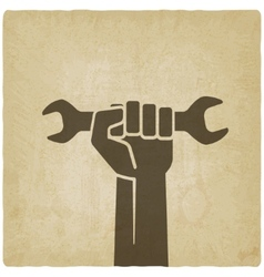 worker hand with wrench symbol vector image vector image