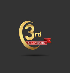 3 years anniversary logo style with swoosh ring vector