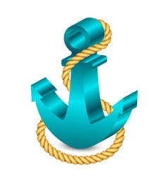 3d anchor with rope vector image