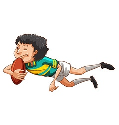 A simple drawing of a boy playing rugby vector image