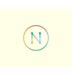 Abstract letter N logo design template Colorful vector image