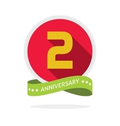 anniversary 2nd logo template with a shadow on red vector image